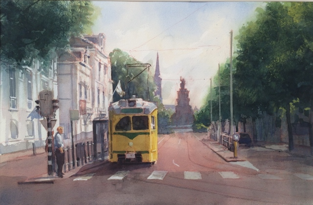 Ton van steenbergen  pcc tram  aquarel 30x50 cm. %e2%82%ac 950 00  %28640x419%29