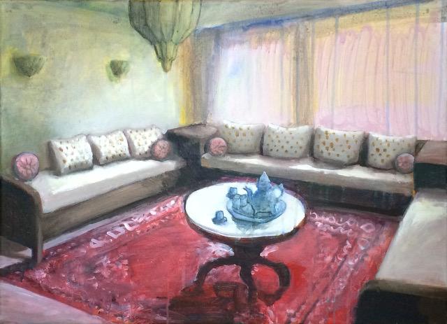 Tamara giesberts  marokkaanse woonkamer   acryl  50x70 cm. %e2%82%ac 1400 00
