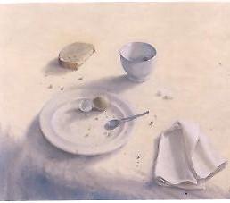 Adolfo ramon het kleine ontbijt  olieverf op doek  50 x 60 cm. e. 2400 00