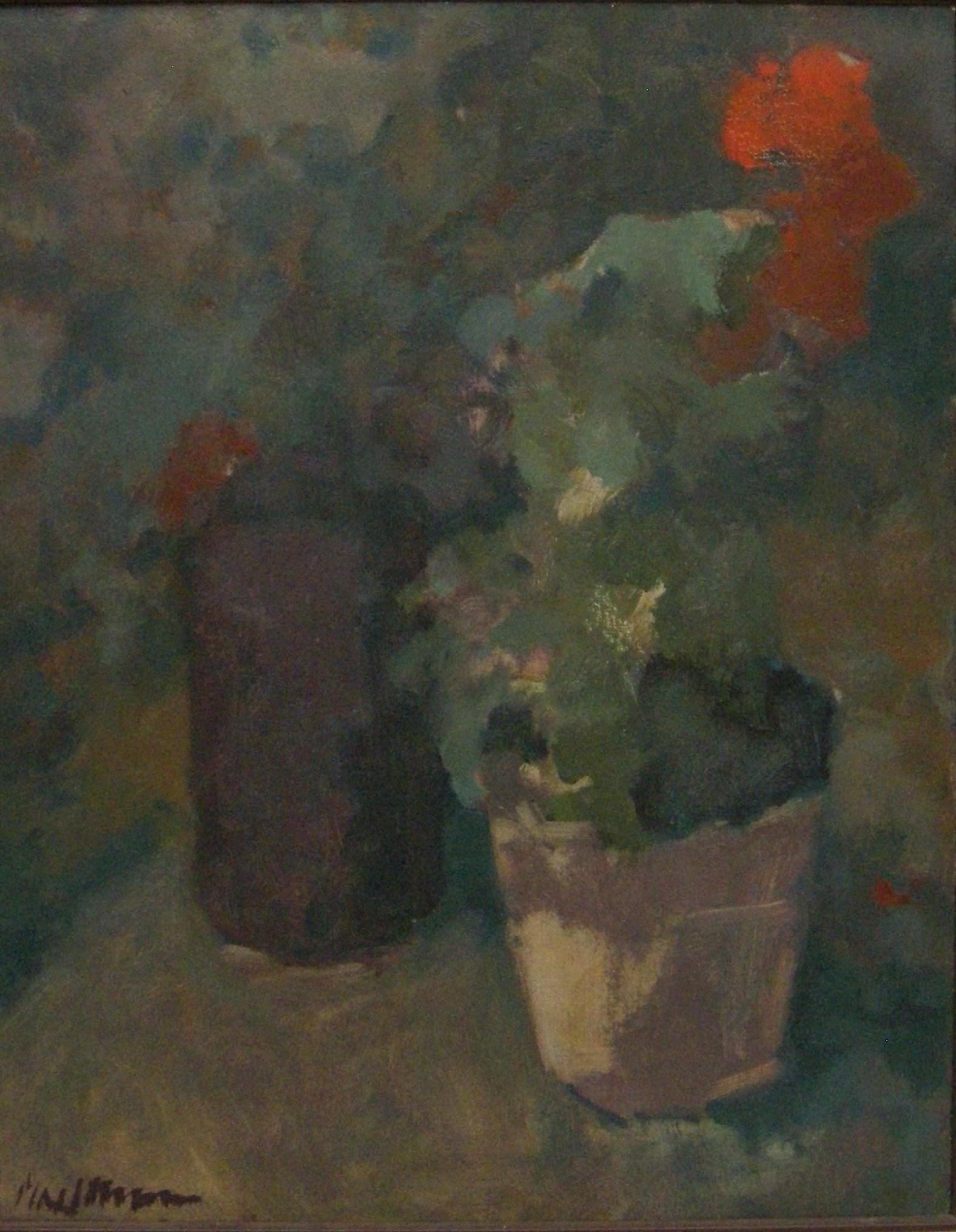 Kleinen  geranium  olieverf op doek  59x45 5cm