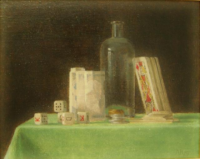 Adolfo ramon  stilleven met kaartspel  olieverf  gemaroufleerd  45 x 50 cm. e.  1950 00.