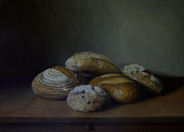 Jef diels   pain quotidien  olieverf op doek  50 x 70 cm.  %e2%82%ac 8500 00