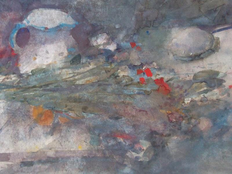Max kleinen  schenkkan met boeket  aquarel  63 x 73 cm. %c2%bd 1750 00