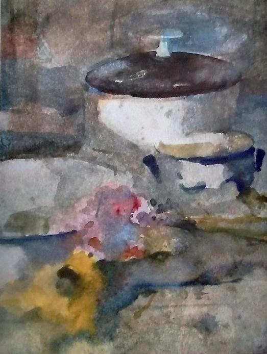 Max kleinen  soepterrine met keulse pot  aquarel  63 x 53 cm. %c2%bd 1500 00