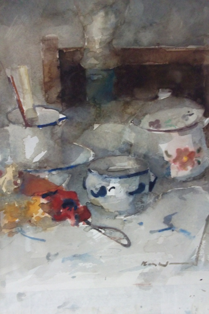 Max kleinen  stoel met keulse pot  aquarel  61 x 51 cm. %e2%82%ac  1500 00