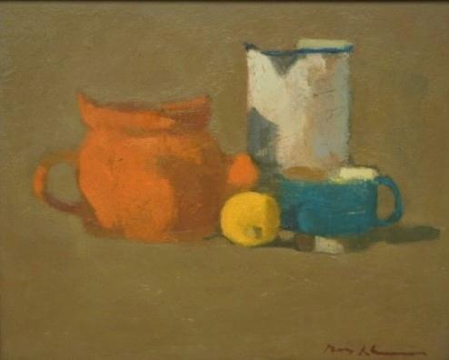 Max kleinen  stilleven met citroentje  olieverf  26x32 cm. e.1600 00