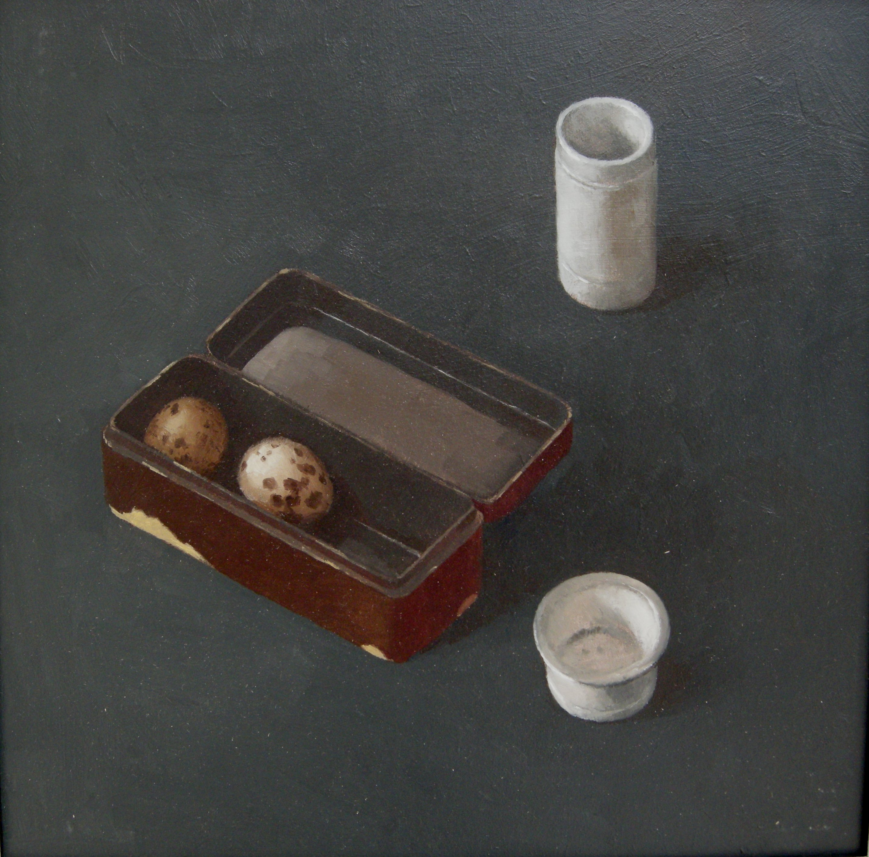 Adolfo ramon  kievitseieren in doos  acryl met olieverf op paneel. 44 x 44 cm. incl lijst.