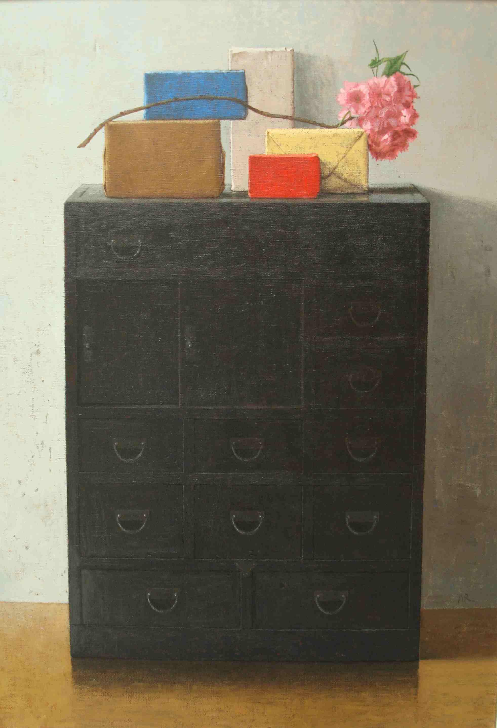 Adolfo ramon  bloesem op kast  acryl op linnen  105 x 75 cm.  e. 2900 00