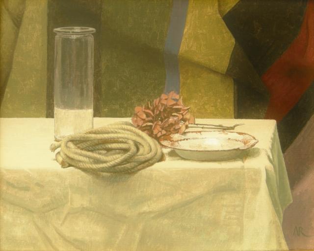Adolfo ramon  stilleven met touw  acryl op doek  51 x 60 cm. e. 1950 00  cm. .jpg %28640x513%29