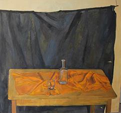 Gero troike  stilleben und schwarzer vorhang  oliev. 135 x 145 cm. %e2%82%ac 5900