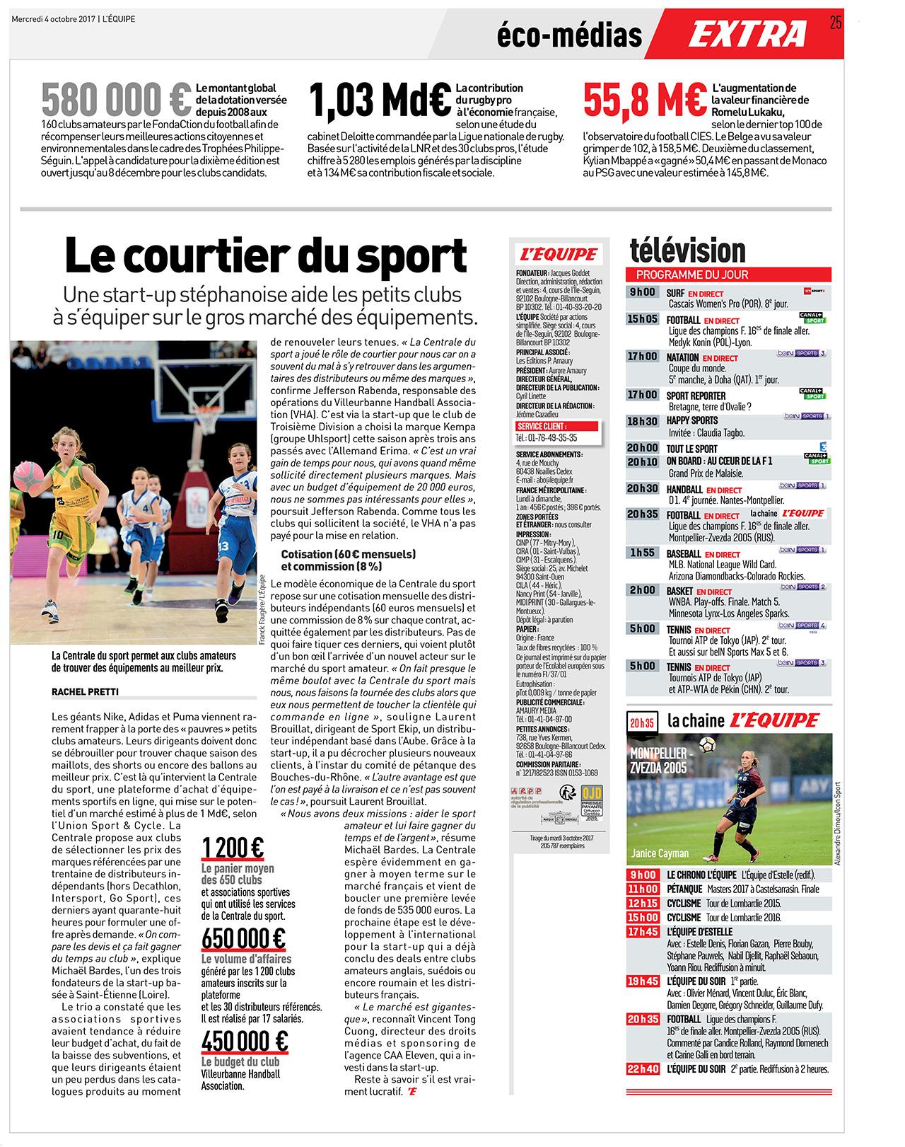 Article L'Equipe sur le premier comparateur de prix en équipements sportifs
