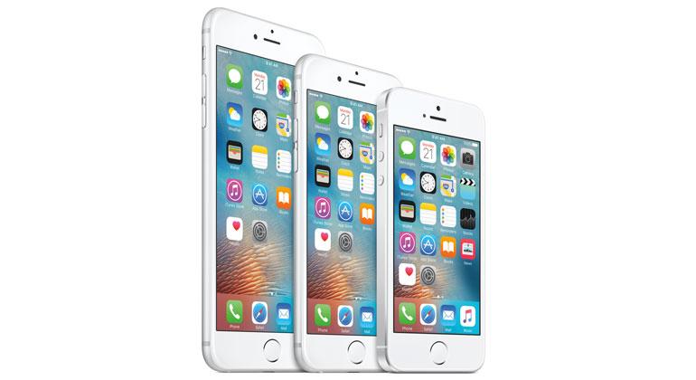 Tripp, trapp ...: Fra venstre finner du iPhone 6s Plus, iPhones 6s og iPhone SE. De har tre forskjellige størrelser, men er alle like kraftige.