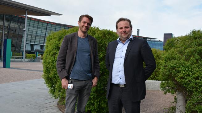 Magnus Aurdal i Telenor (til venstre) og Claes Halvorsen i Gamer.no/TU Media. Foto: Joakim Bentsen/Telenor