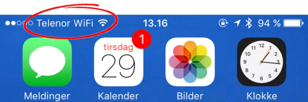 Når WiFi Tale er aktivert på iPhone, vil du se dette nye symbolet.