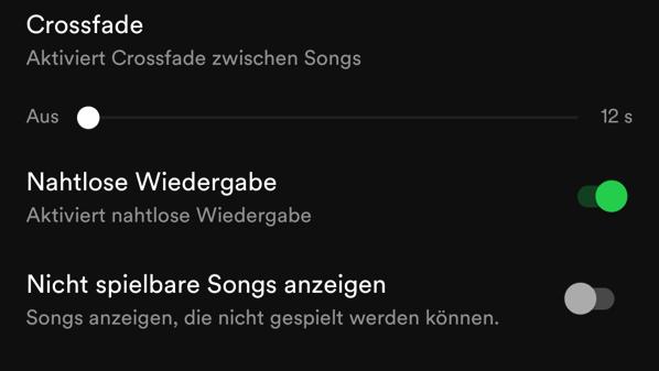Spotify screenshot nahtlose wiedergabe