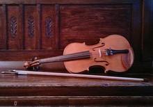 Мастеровая скрипка 4/4 со смычком, футляр кожаный жесткий.