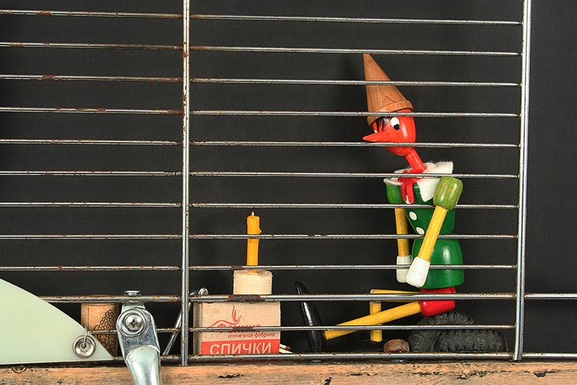 Pinocchio and Whale wall sculpture