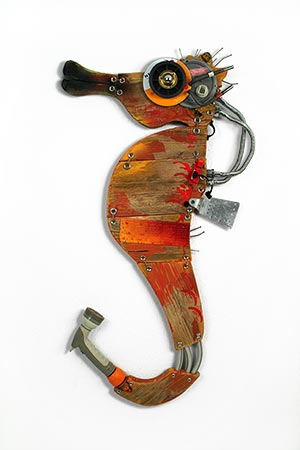 Orange Seahorses wall sculptures