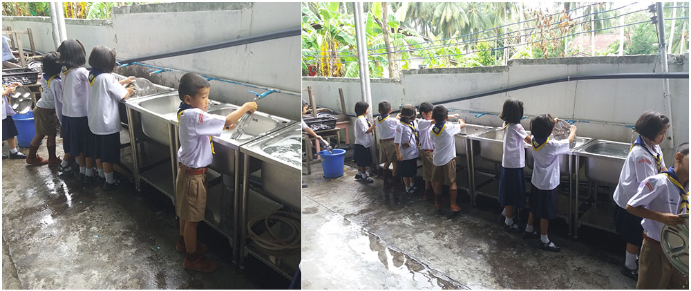 Geschirr-spülen-Thailand-Koh-Samui-Wat-Lamai-Grundschule