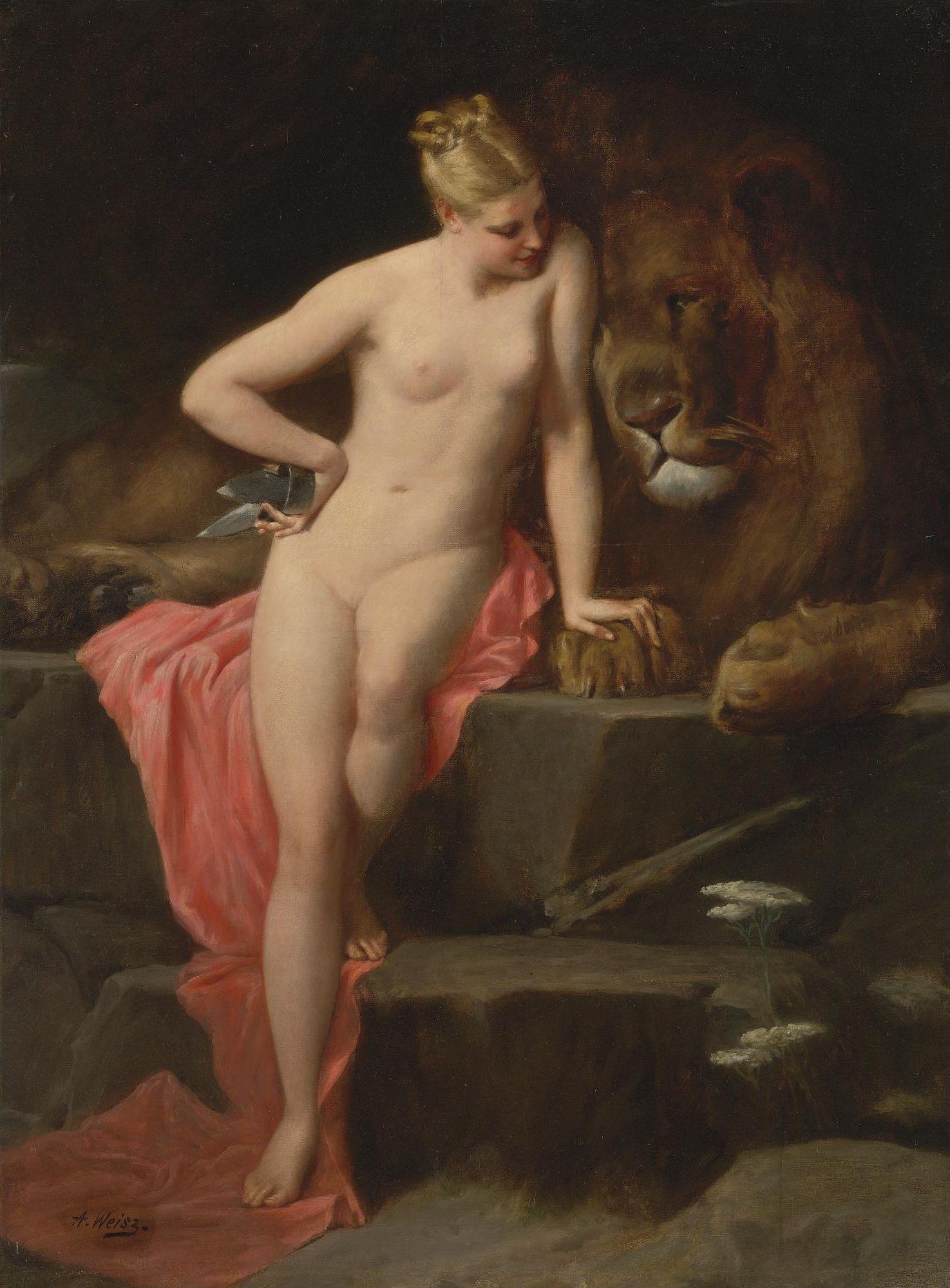 Adolphe Weisz, 1838-1916. Диана и лев. Частная коллекция