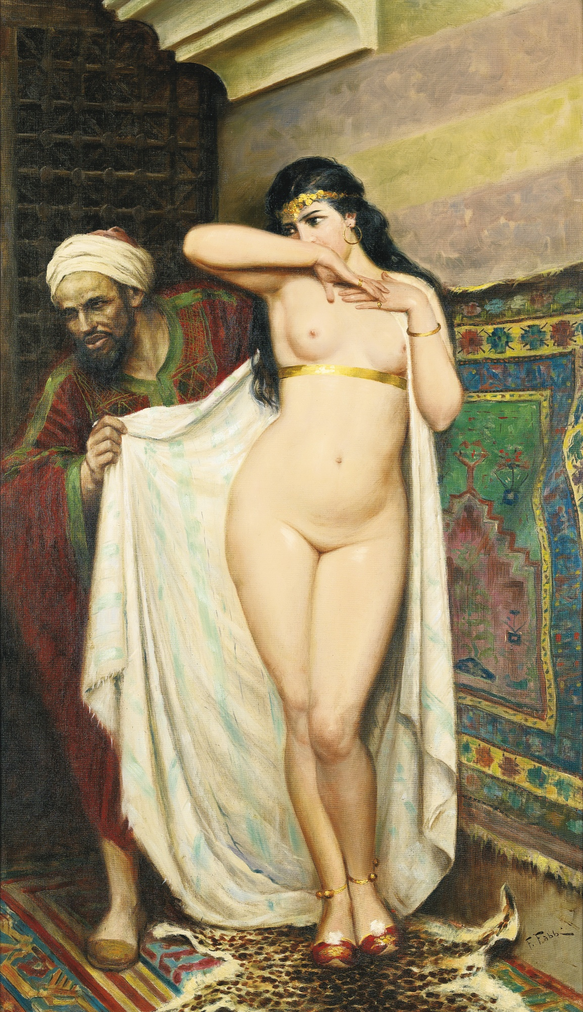 Fabio Fabbi, 1861-1946. Рынок рабов. 1931. 116 х 65.5 см. Частная коллекция