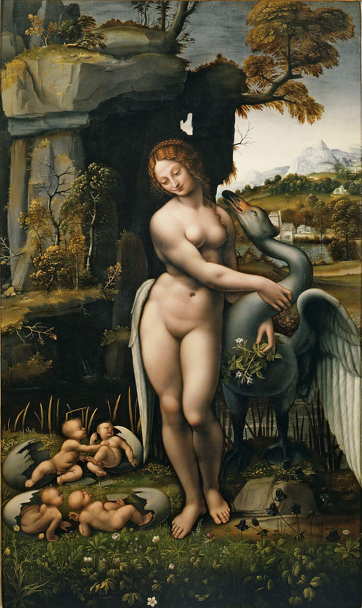 Francesco Melzi, ок.1491 - между 1568 и 1570. Леда и лебедь. 1508-1515. Флоренция, Уффици