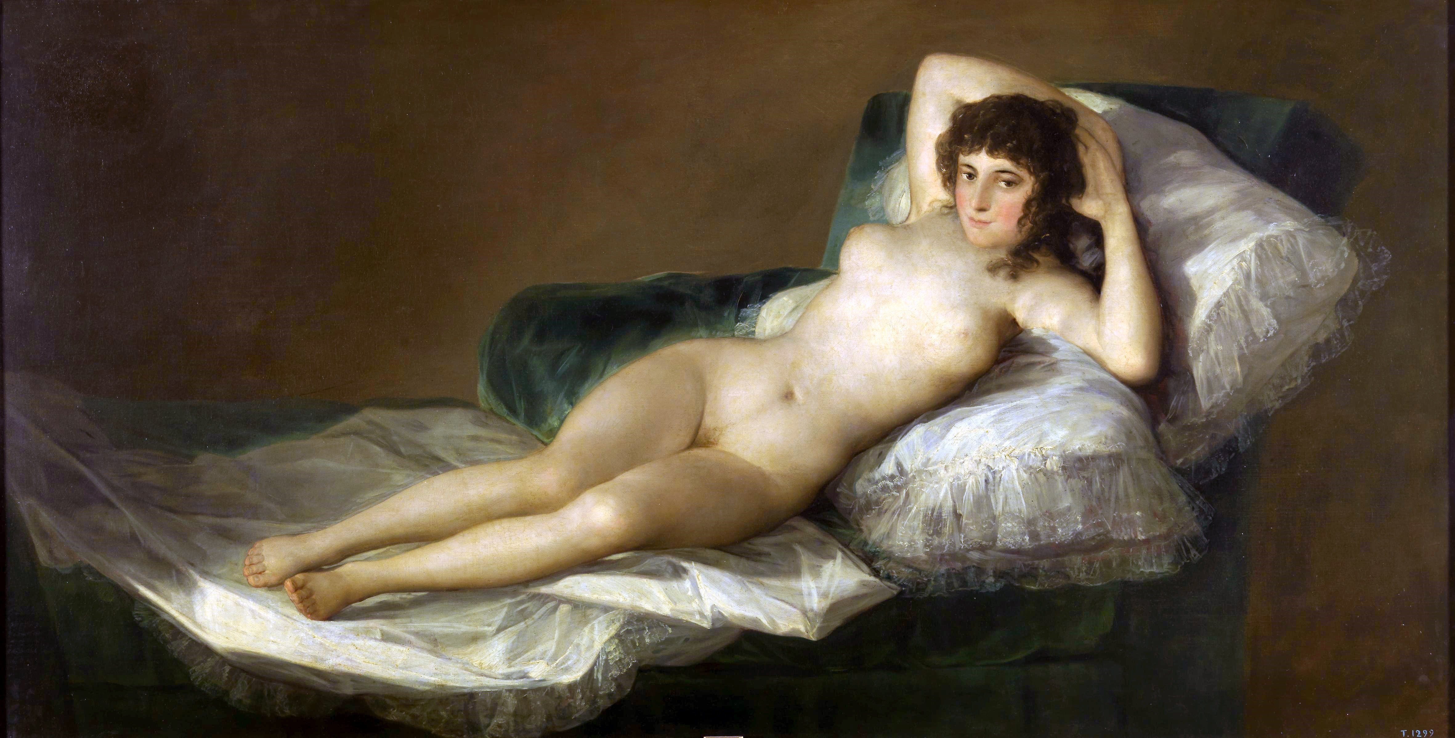 Francisco de Goya y Lucientes, 1746-1828. Маха обнажённая (до 1800. 98 х 191 см. Мадрид, Прадо