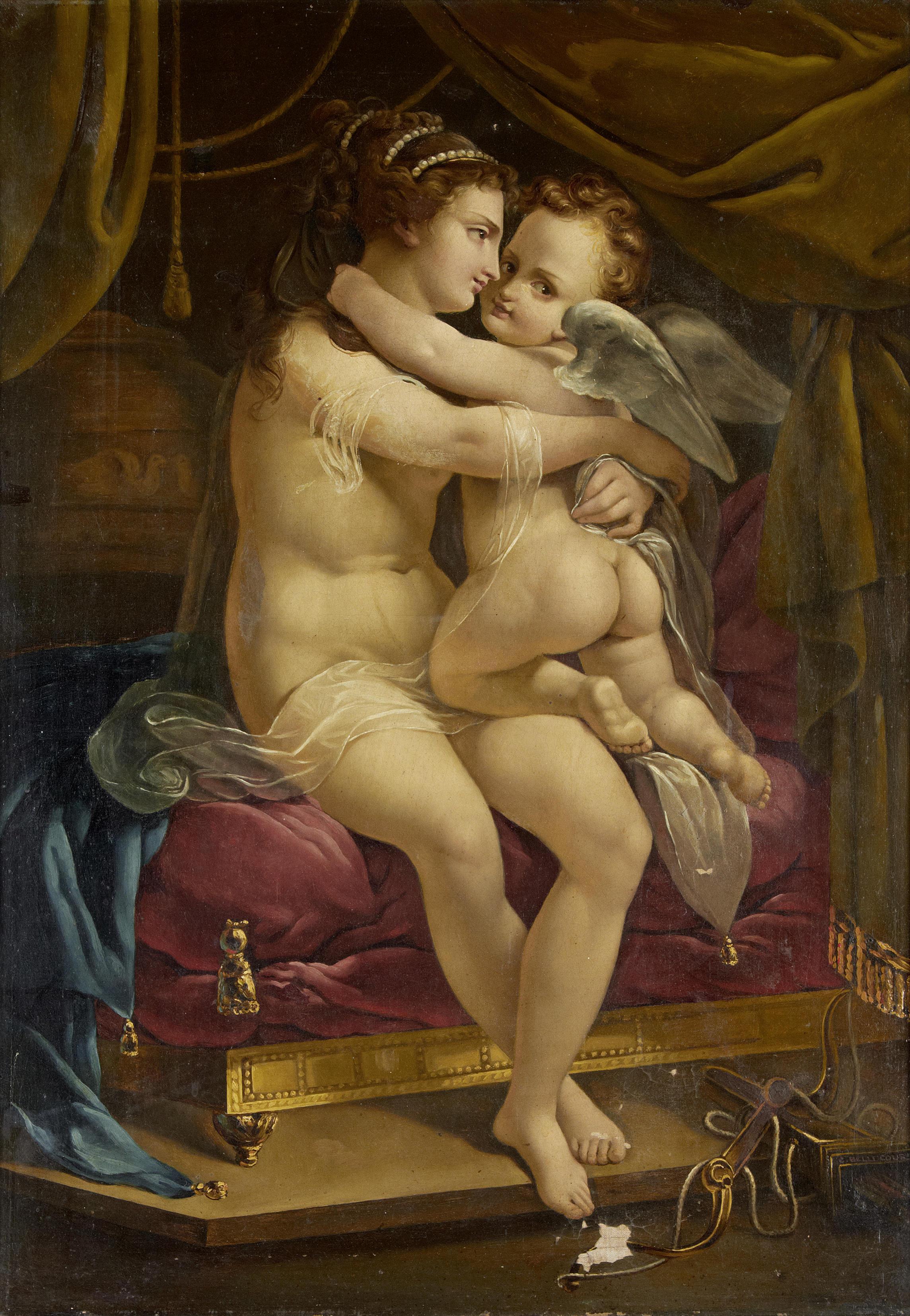 Французская школа XIX века. Венера и Амур. 79 x 57.2 см. частная коллекция