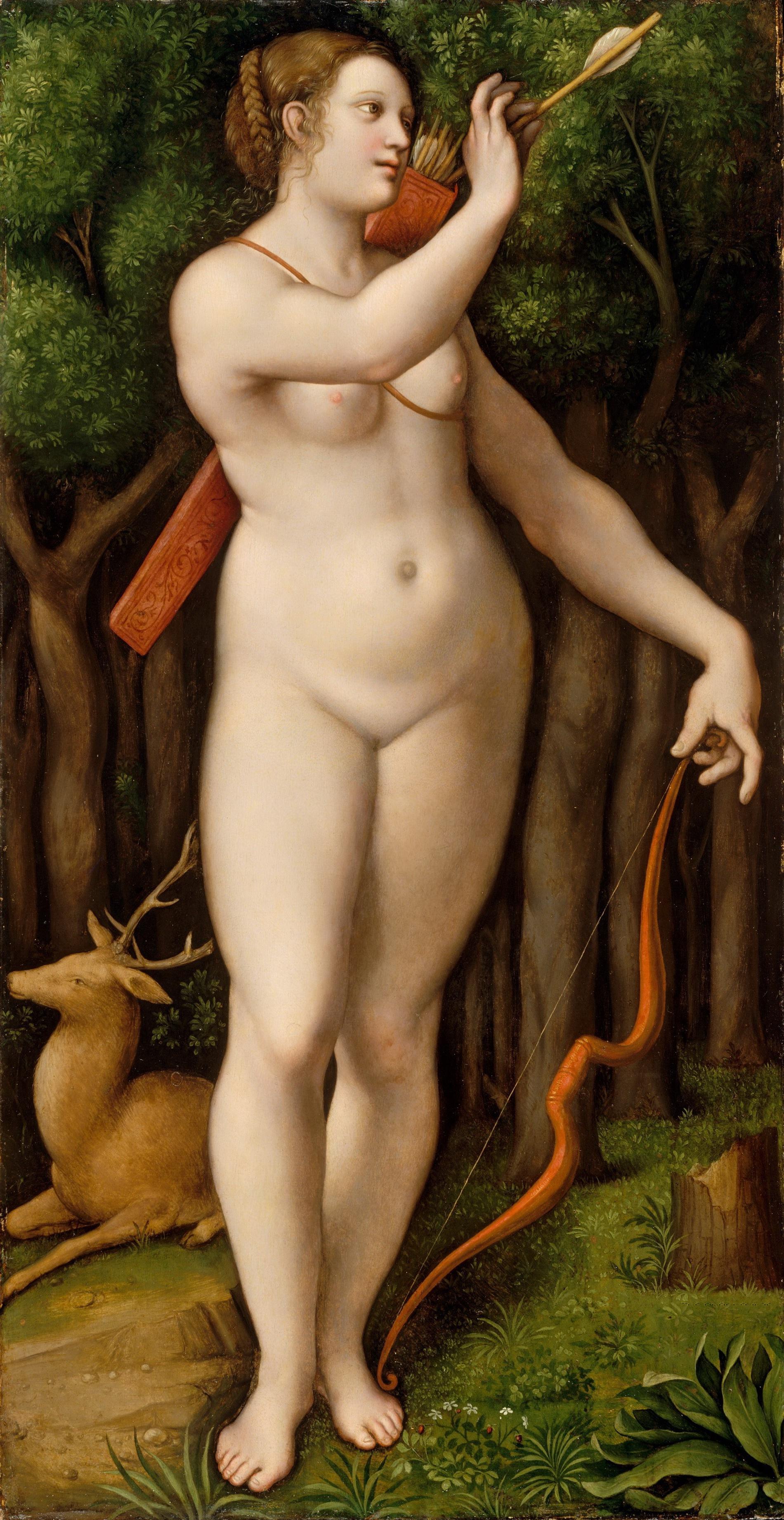 Giampetrino, 1495-1549. Диана-охотница. позже 1526. Нью-Йорк, музей Метрополитен