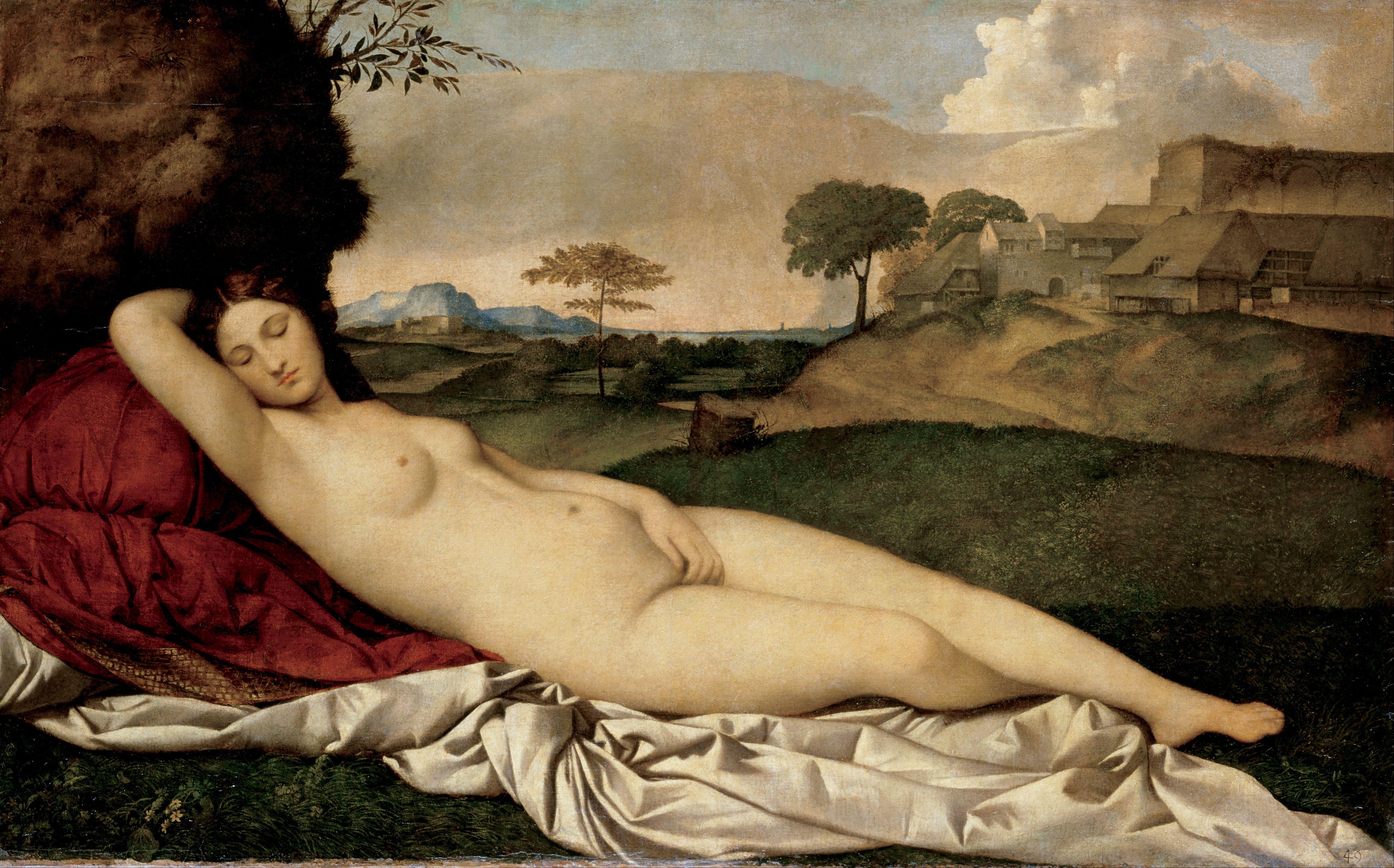 Giorgione, ок.1477-1510. Спящая Венера (ок.1510) (108.5 х 175) (Дрезденская галлерея).