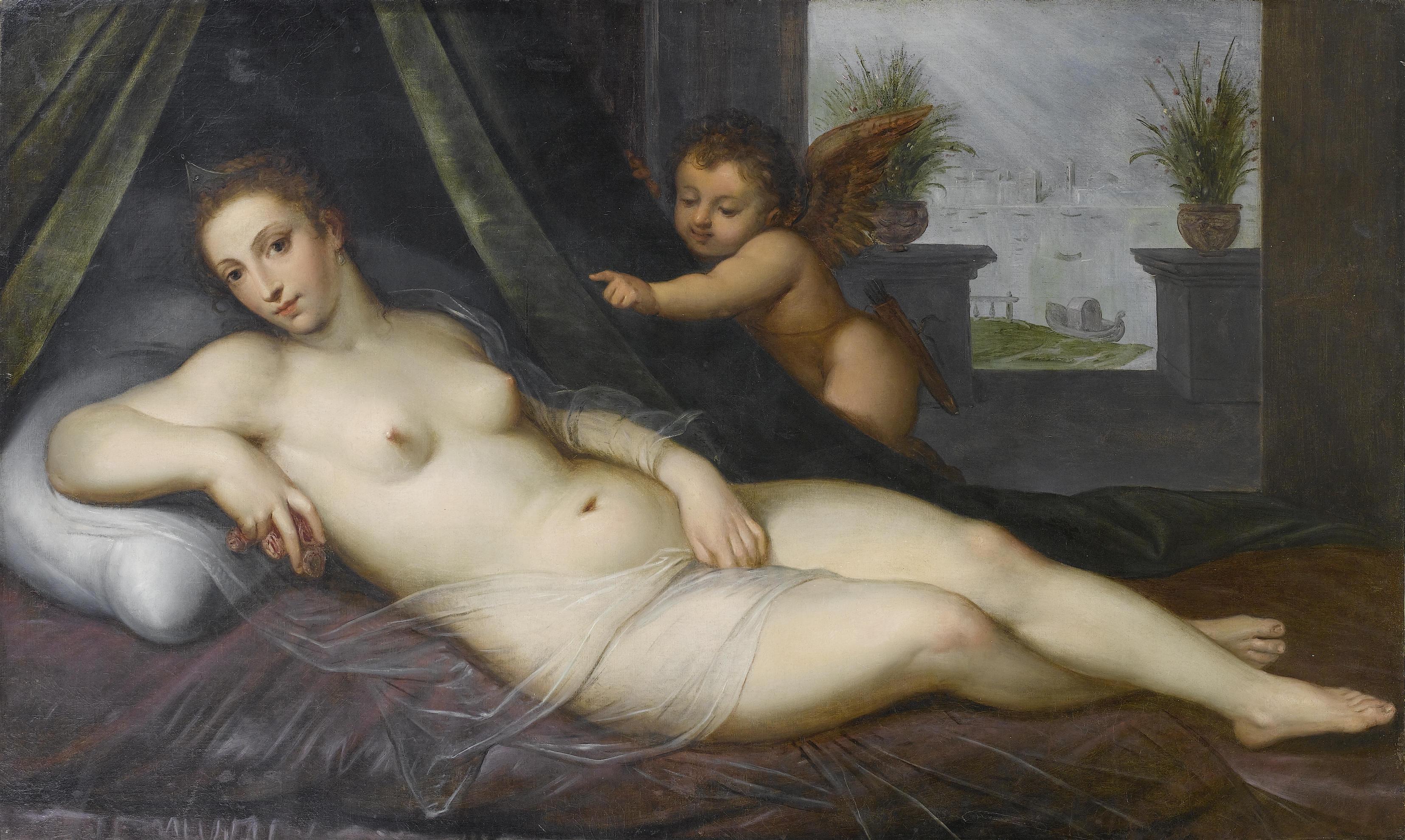 Круг Ламберта Сустриса. Венера и Амур. 91 x 151.6 см. частная коллекция