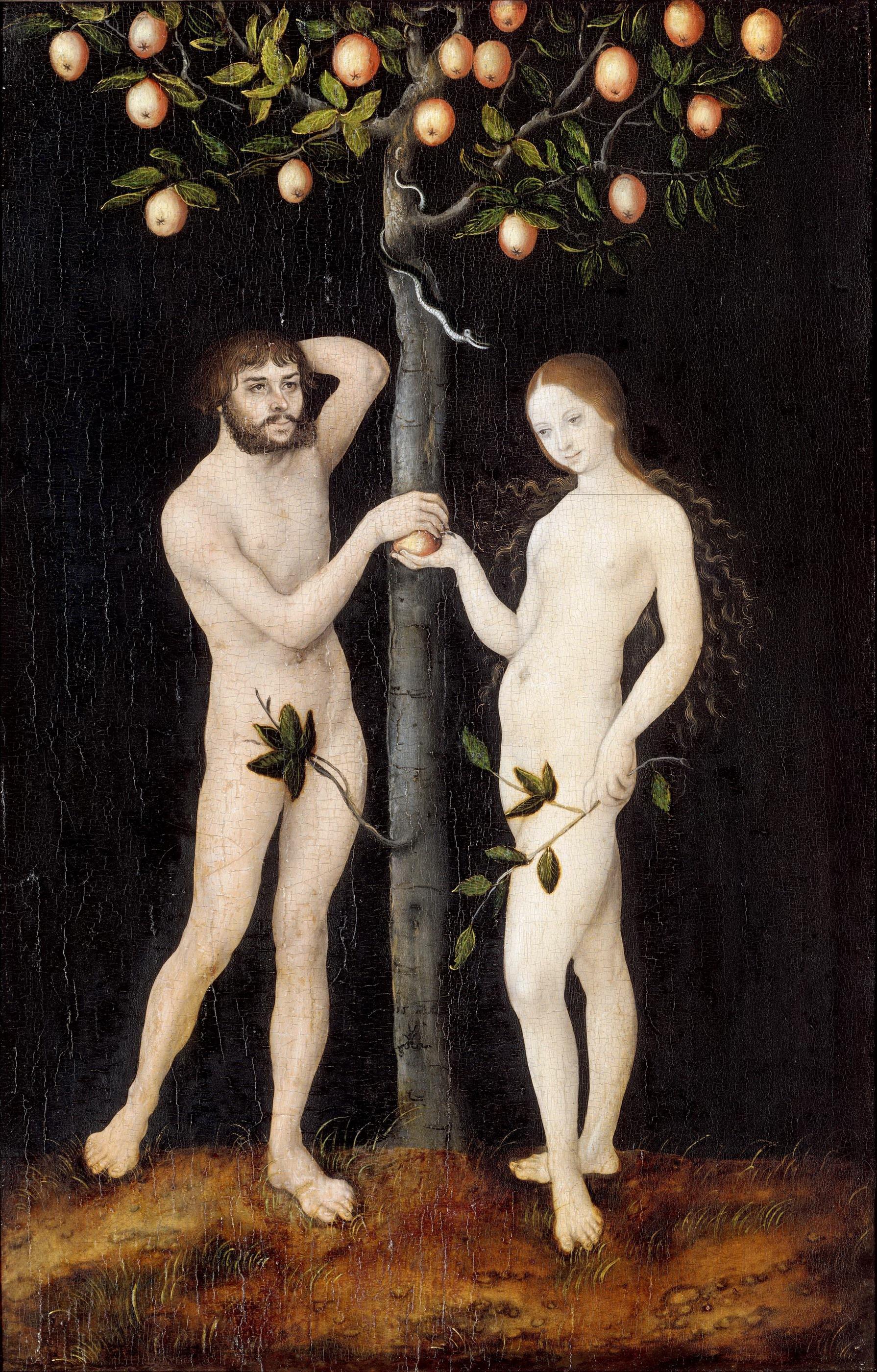 Lucas Cranach I, 1472-1553. Адам и Ева. 1521. Антверпен, Королевский музей изящных искусств