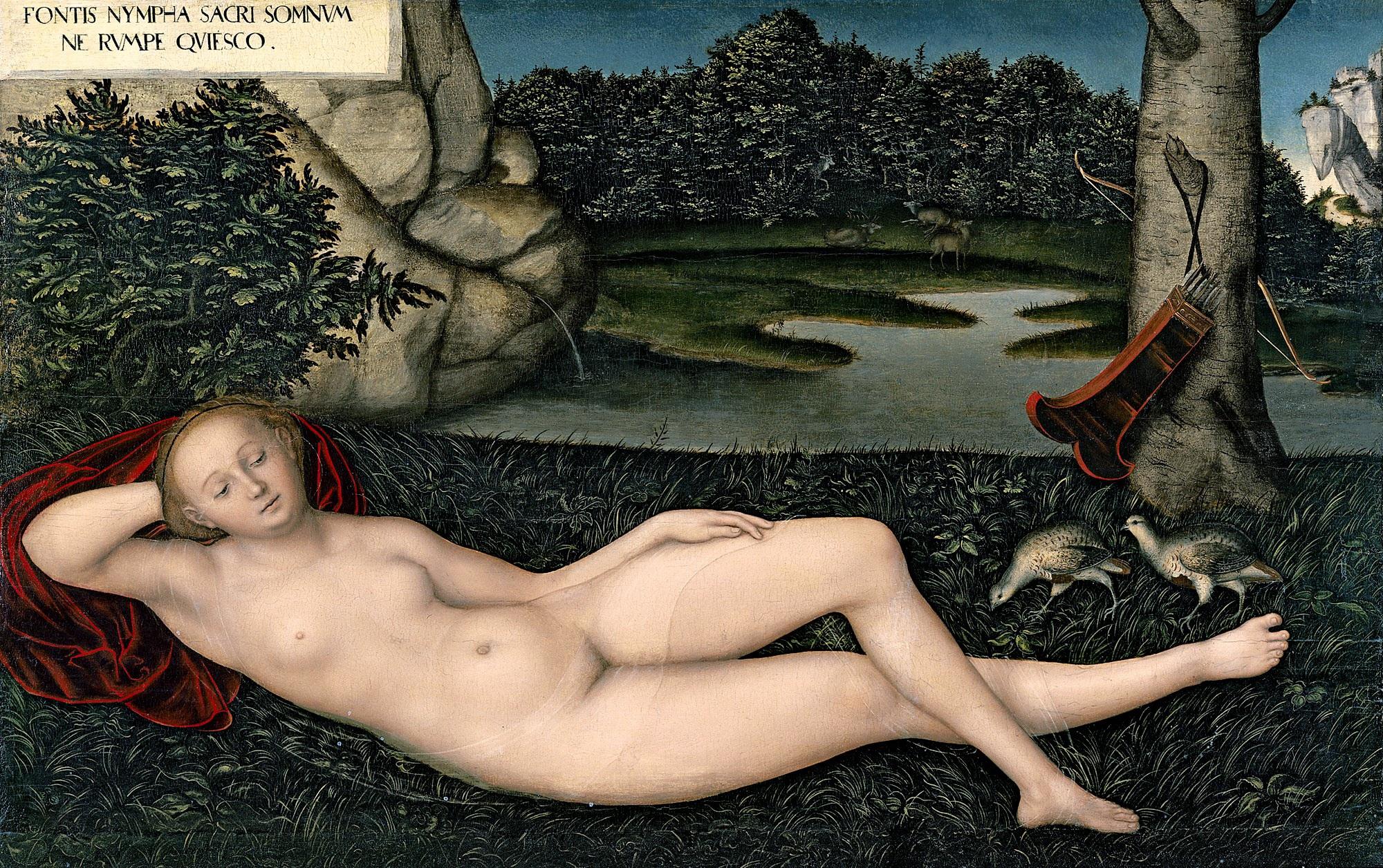Lucas Cranach I, 1472-1553. Нимфа весны. 1530-1534. 75 x 120. Мадрид, музей Тиссена-Борнемисы