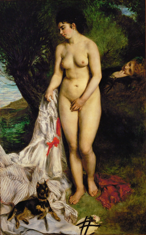 Piere-Auguste Renoir, 1841-1919. Лиза Трео на берегу Сены. 1870. 184 х 115 см