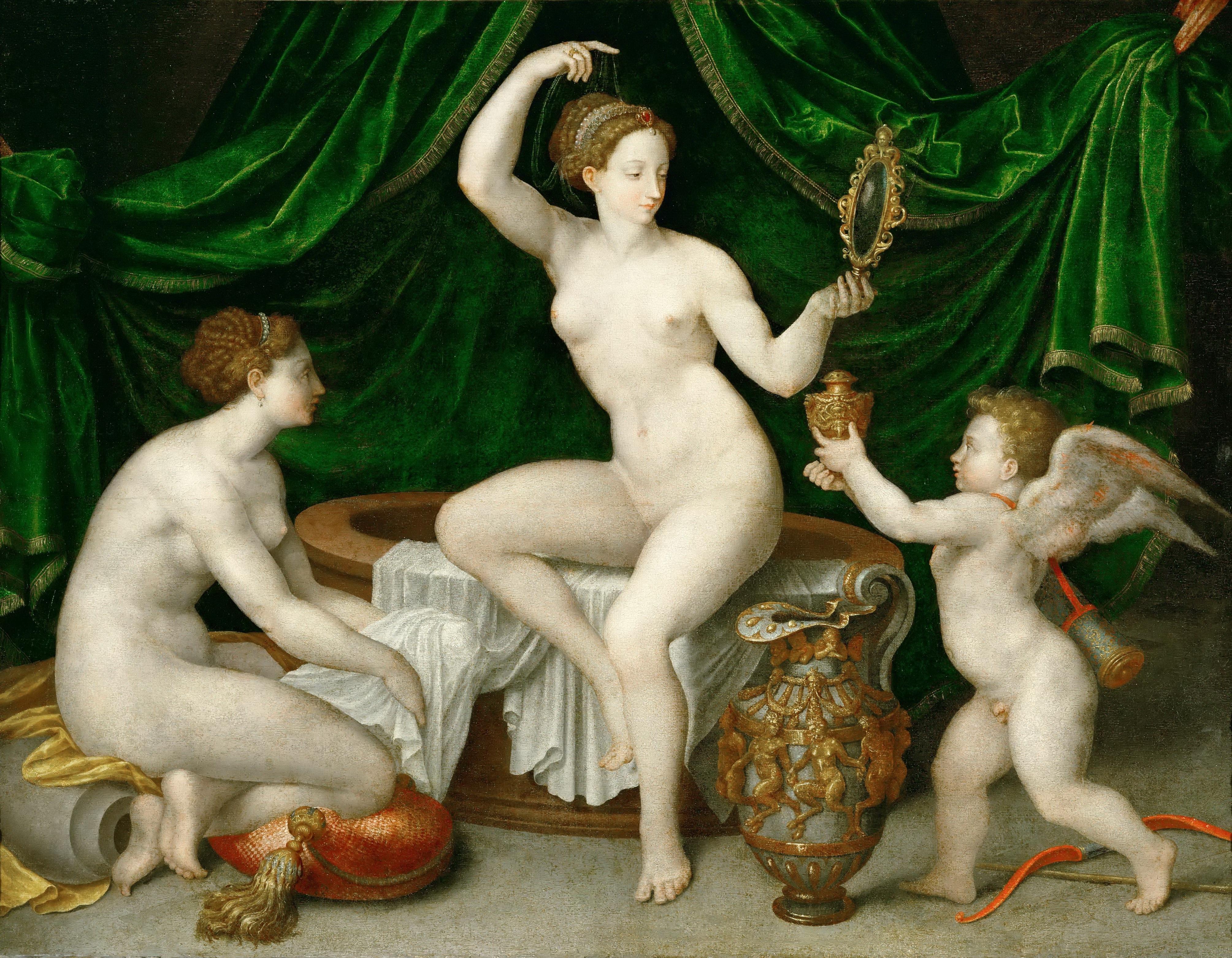 Школа Фонтенбло. ПТуалет Венеры. ок.1550. 97 х 126 см. Париж, Лувр