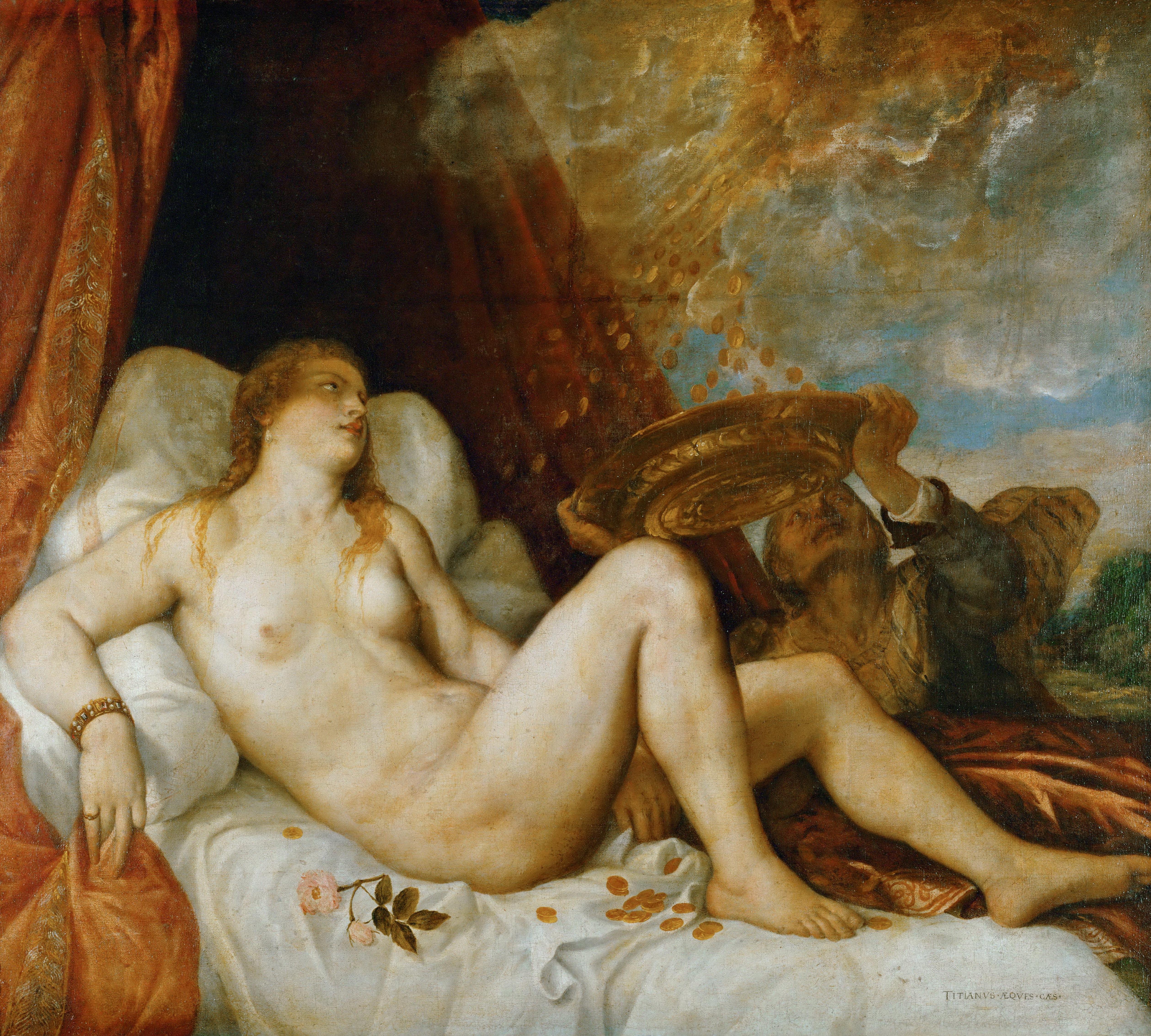 Titian Vecellio. 1488-1490 - 1576. Даная. ок.1554. 135 x 152 см. Вена, Музей истории искусства