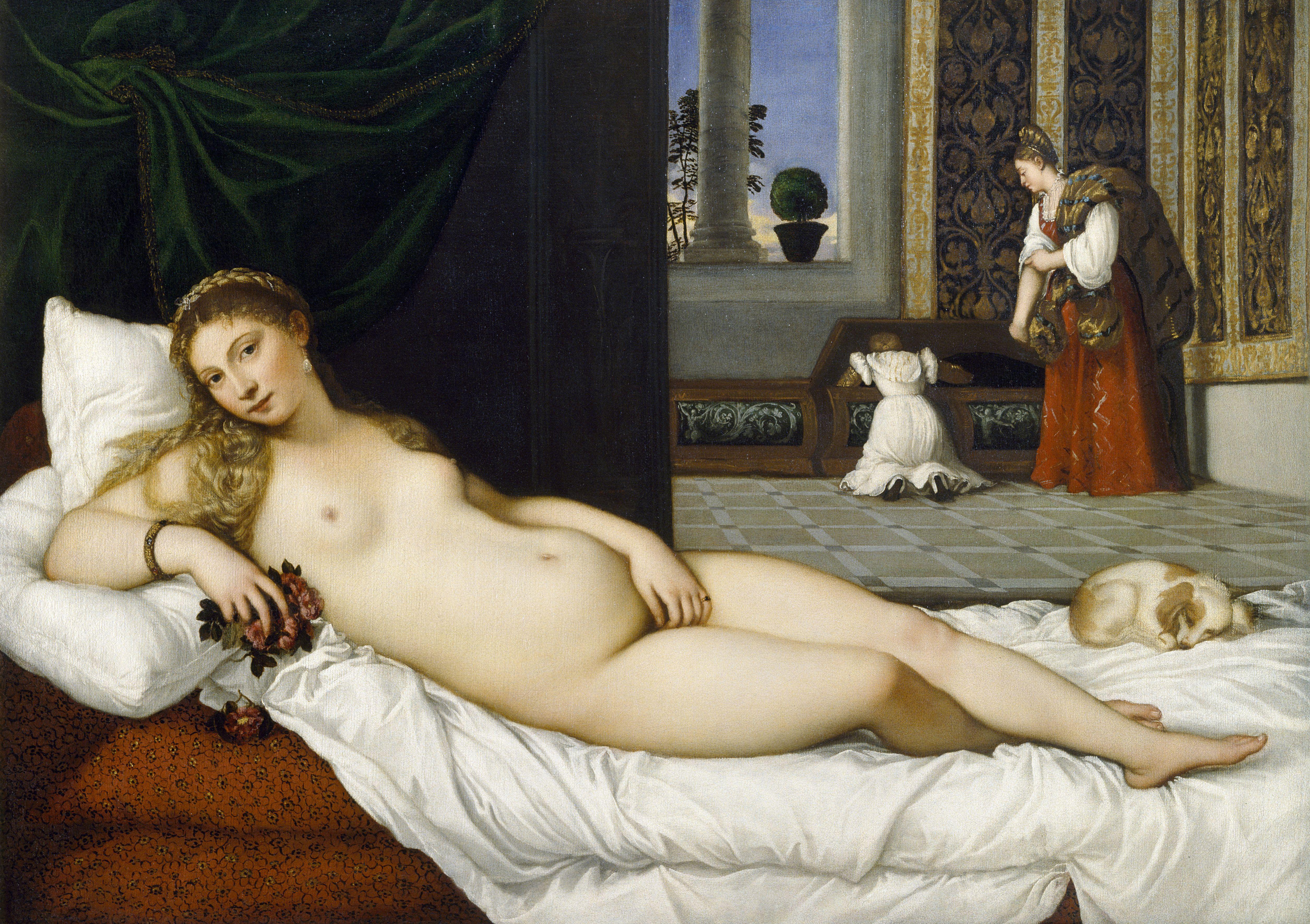 Titian Vecellio. 1488-1490 - 1576. Венера Урбинская. 1538. 119.2 х 165.5 см. Флоренция, Уффици