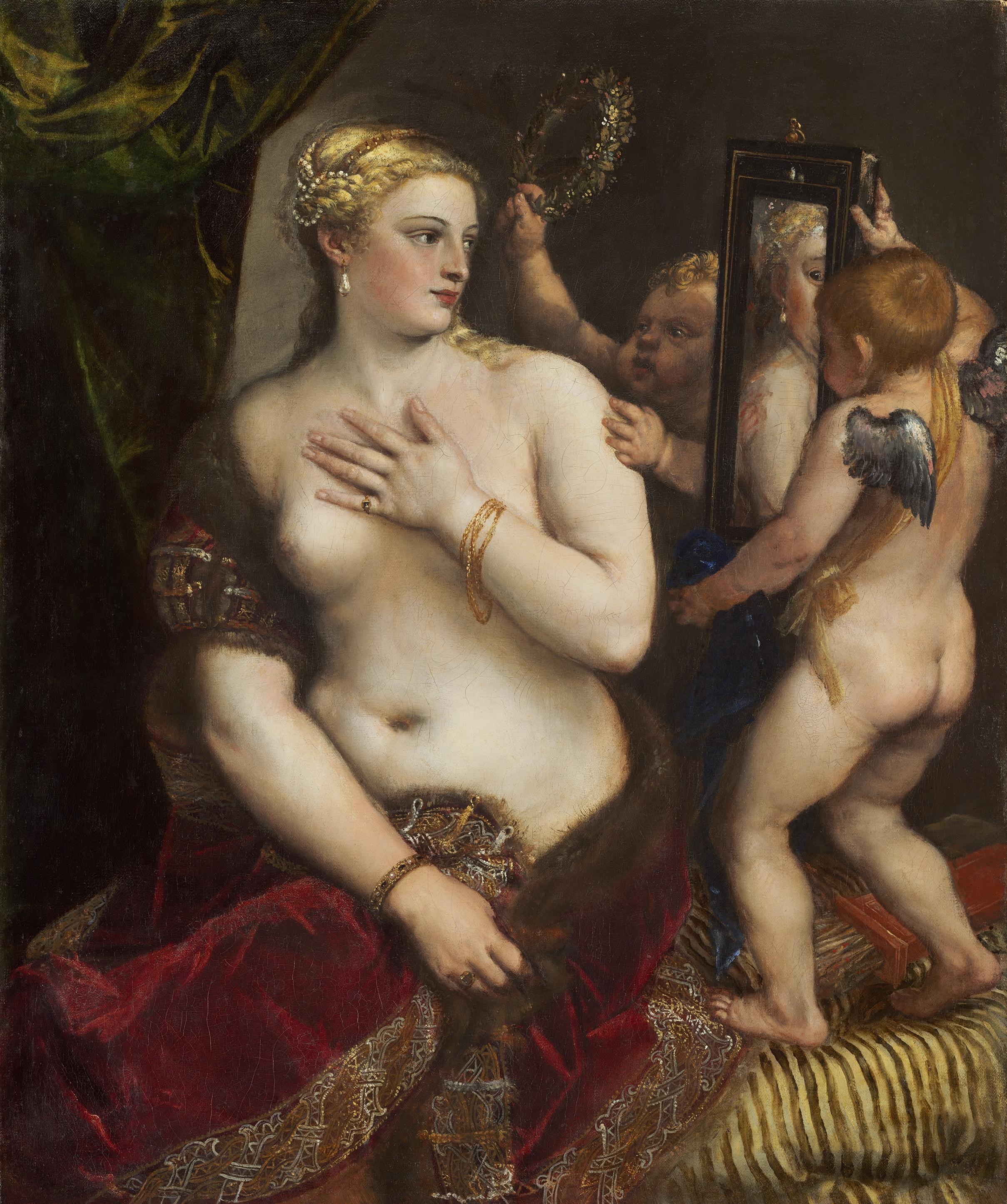 Titian Vecellio. 1488-1490 - 1576. Венера перед зеркалом. 1555. 124,5 х 105,4 см. Вашингтон, Национальная галерея