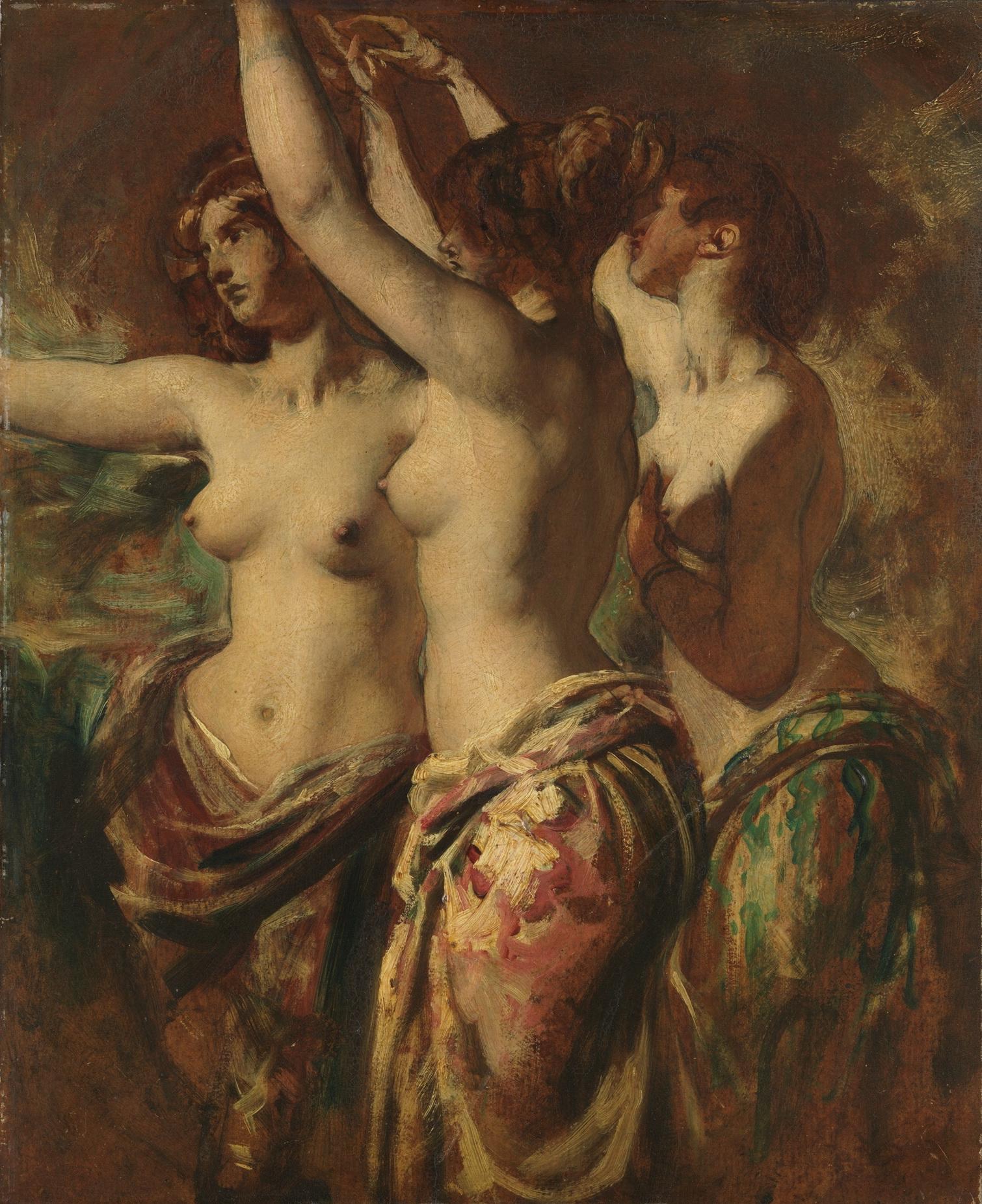 William Etty, 1787-1849. Три грации. 57.2 x 47.6 см. Нью-Йорк, Метрополитен