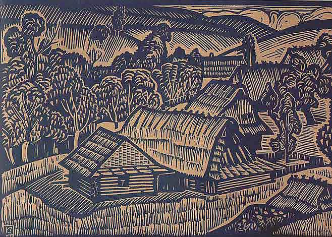 Бойківський пейзаж.1972.Лінорит.22х33