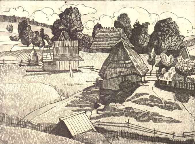 Стара Бойківщина.1972.Офорт-акватинта.28х38