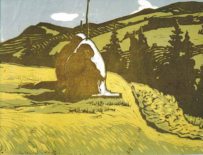 Вид на Чорногору.1956.Кольорова ліногравюра.21,8х28