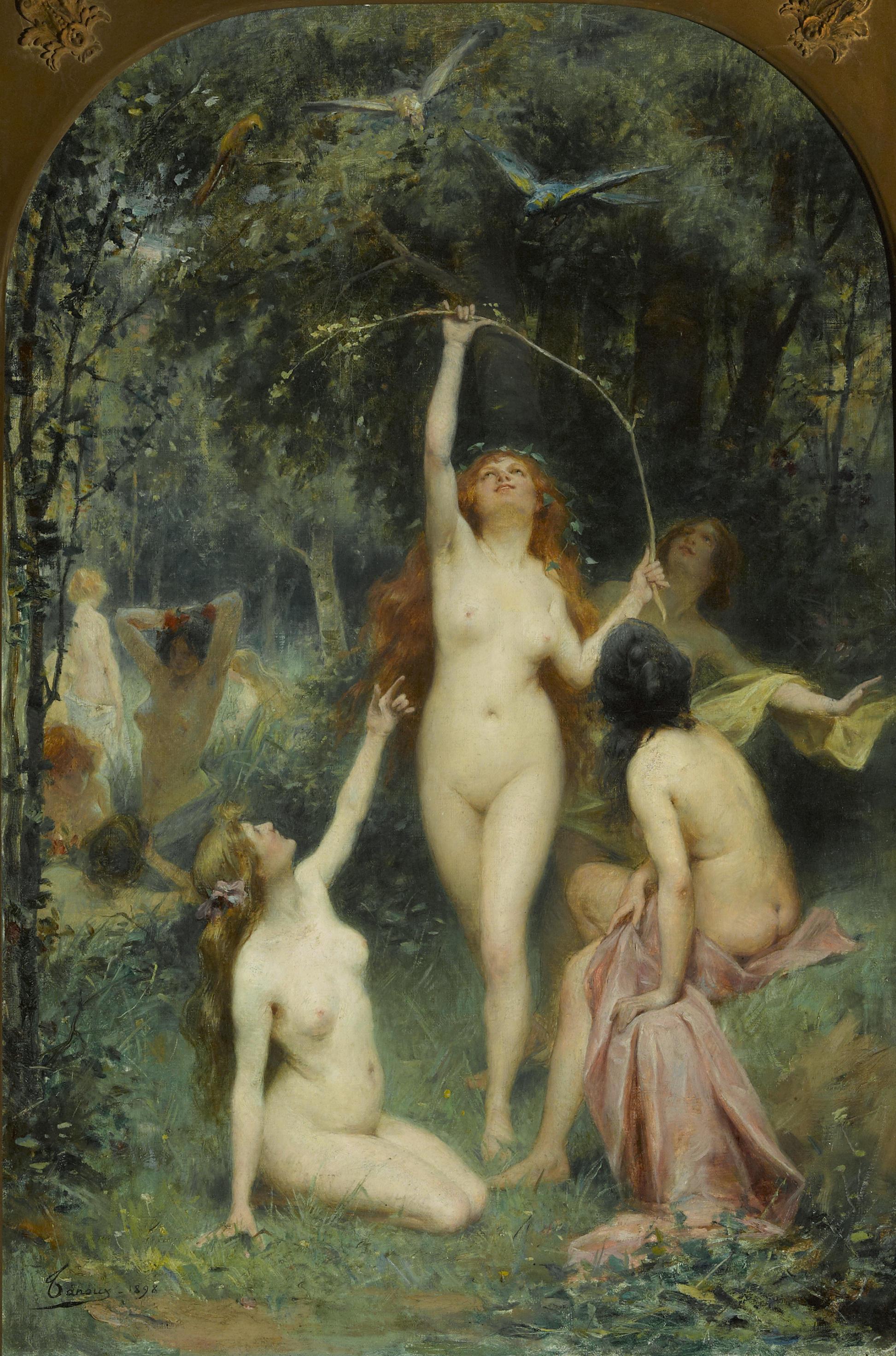 Adrien Henri Tanoux, 1865-1923.  Нимфы в лесу.  1898. 73 x 48.2 см. Частная коллекция