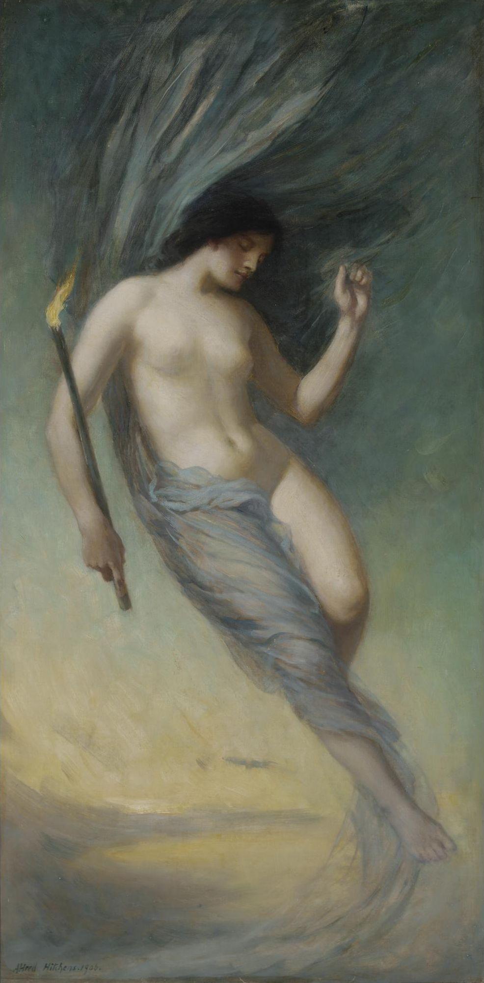 Alfred Hitchens, раб в 1889-1902. Пыльная ночь спускается с неба. 1905. 87 х 44 см. Частная коллекция