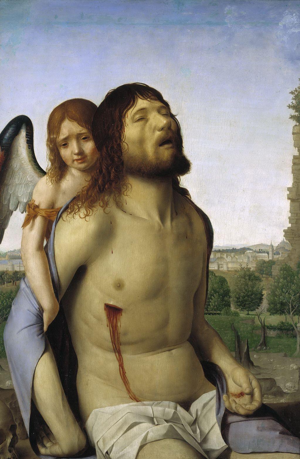 Антонелло да Мессина (1429 — 1479) Мертвый Христос, поддерживаемый ангелом