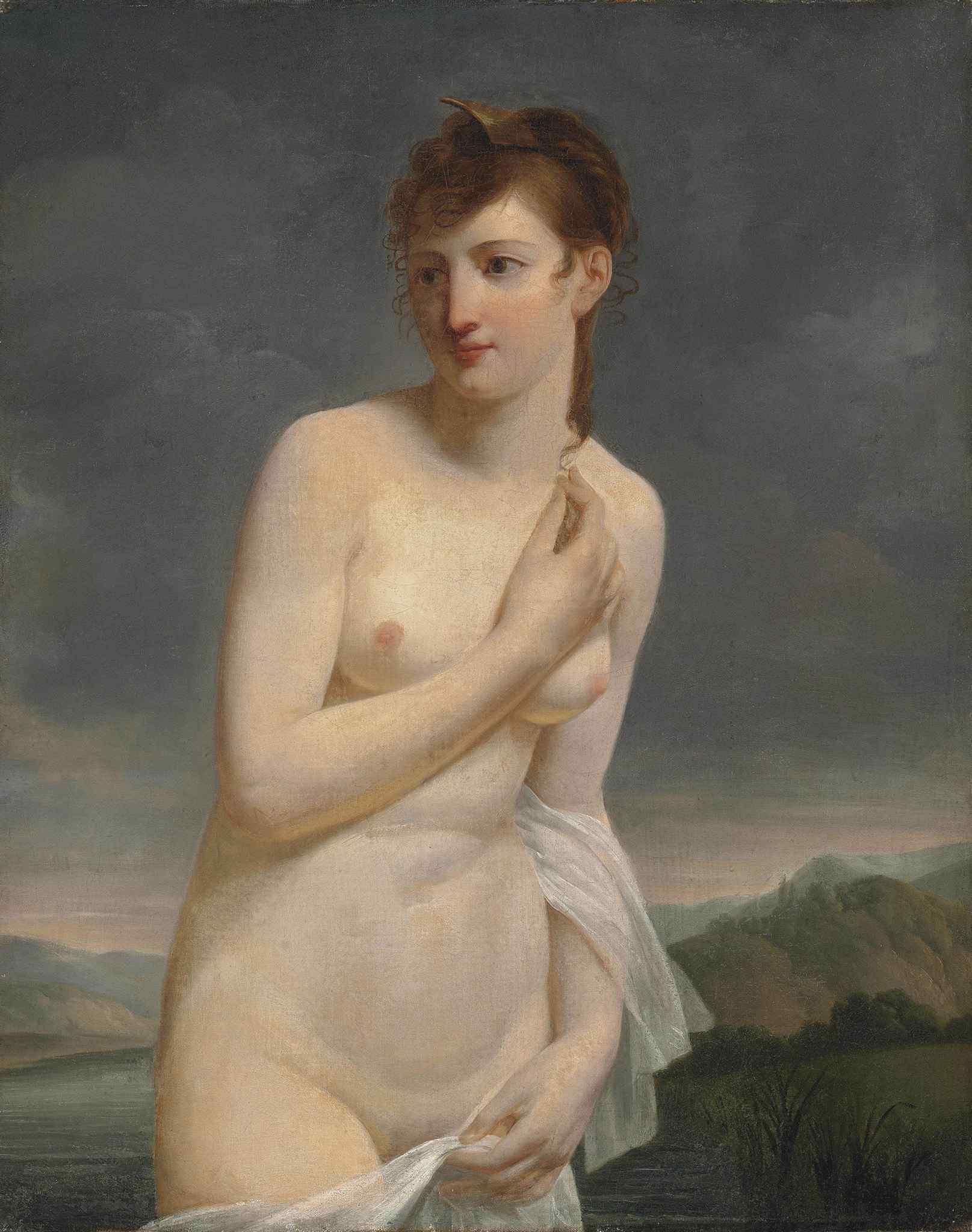 Jaques Antoine Vallin, ок.1760-после 1831. Купальщица на фоне речного пейзажа. 81.2 x 65.2 см