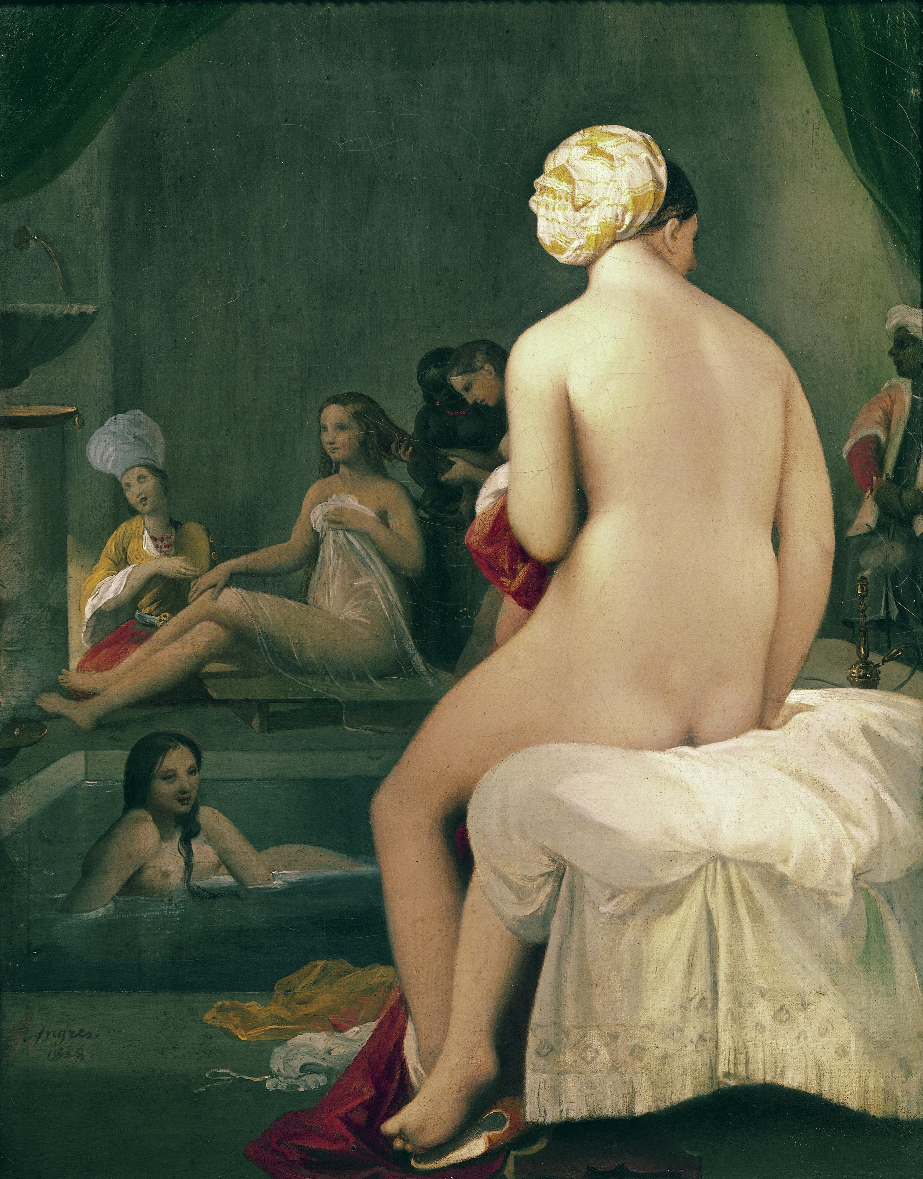 Jean Auguste Dominique Ingres, 1780-1867.  Купальщицы в гарем.  1828. 35 х 27 см. Париж, Лувр