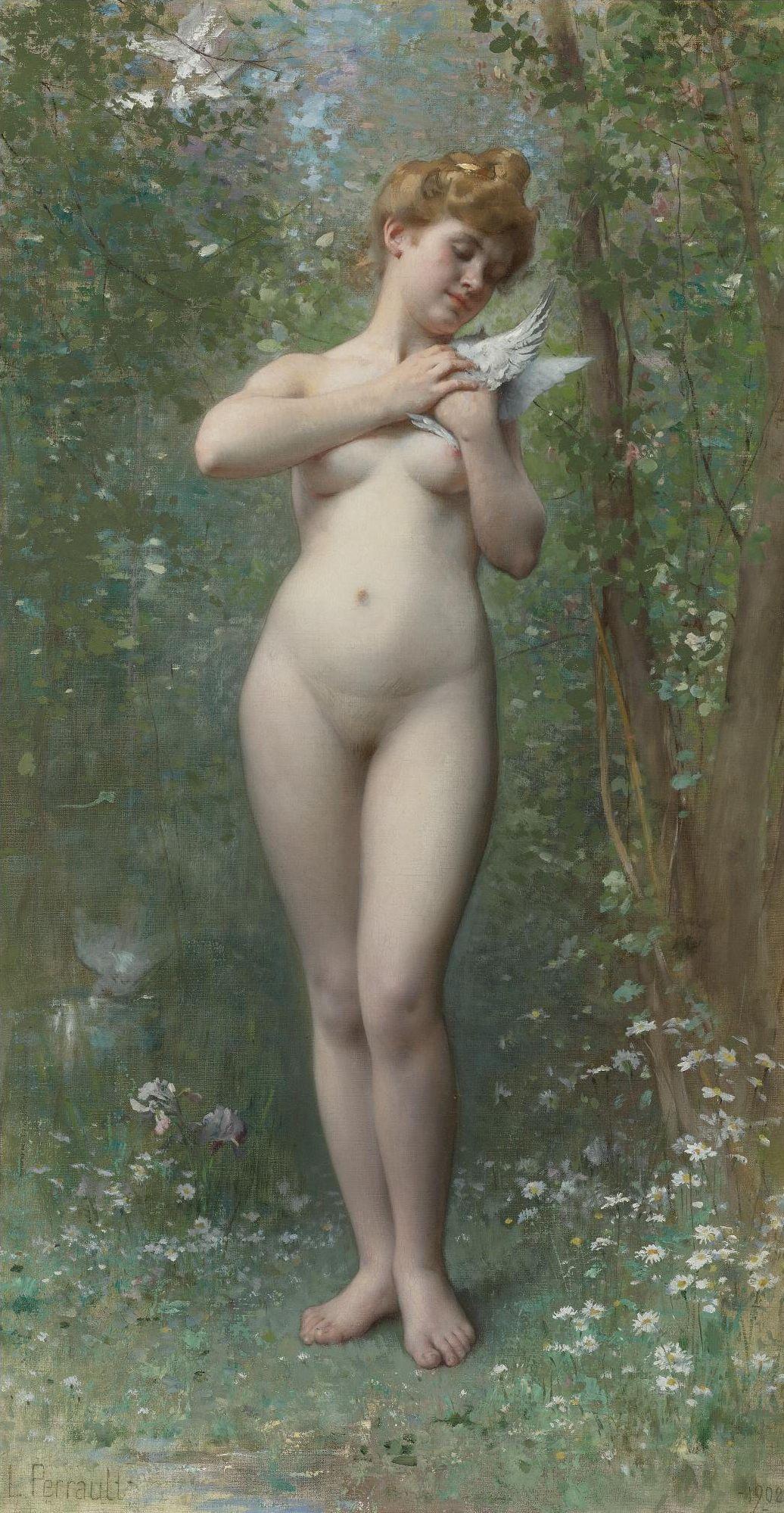 Leon Perrault, 1832-1908. Венера и голубь. 80 х 43 см. Частная коллекция