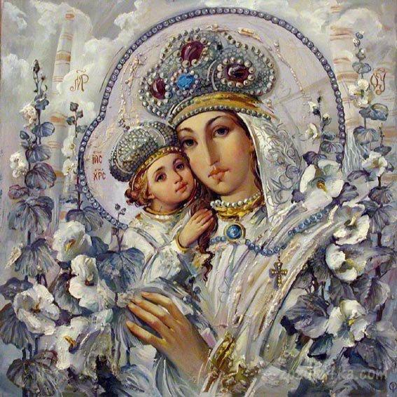 Божа мати з Ісусом заквітчані.