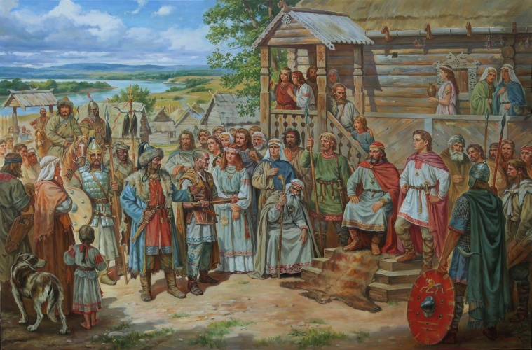 Кий с отцом принимает гунских послов.450 год.